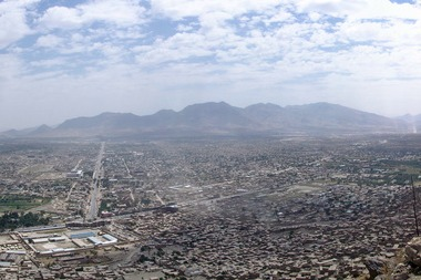 City of Kabul with mountains in background.