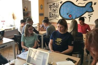 community event in Ukraine classroom