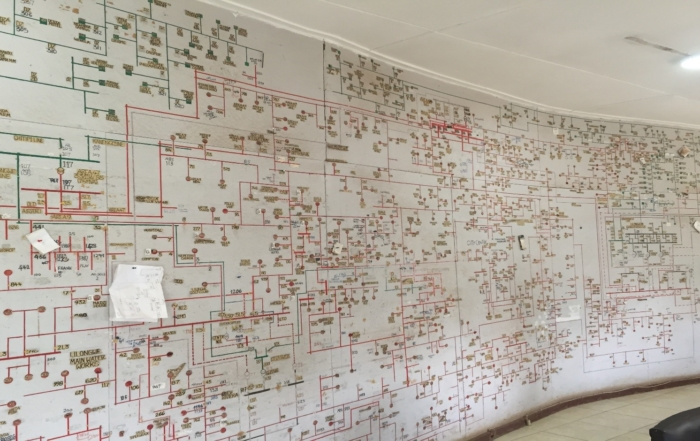 Wall of mapped data.