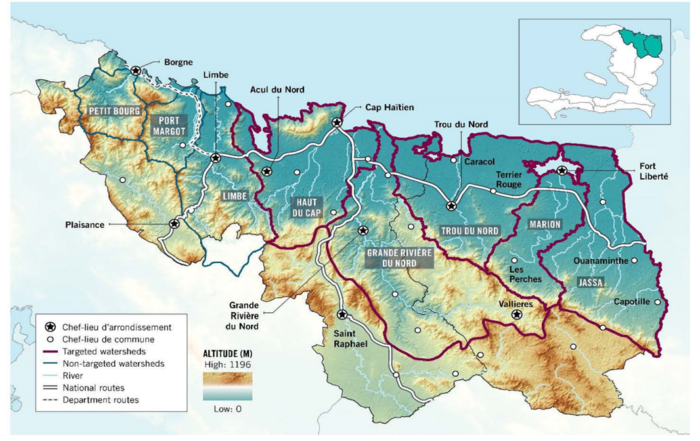 Reforestation data displayed as a map of Haiti.