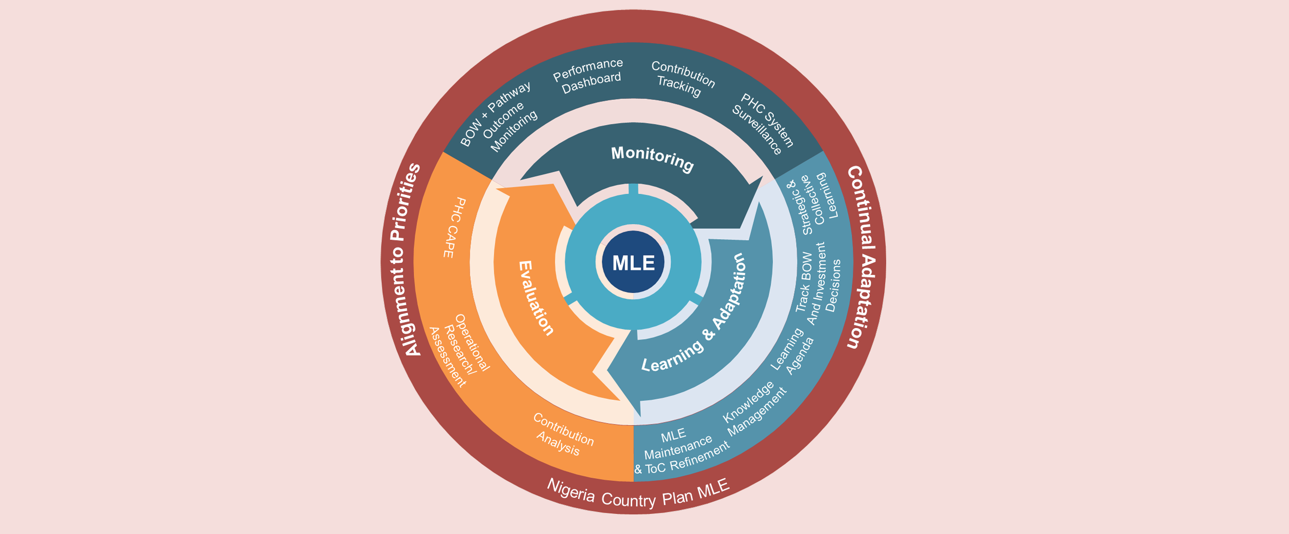 Monitoring, Learning and Evaluation strategy graphic